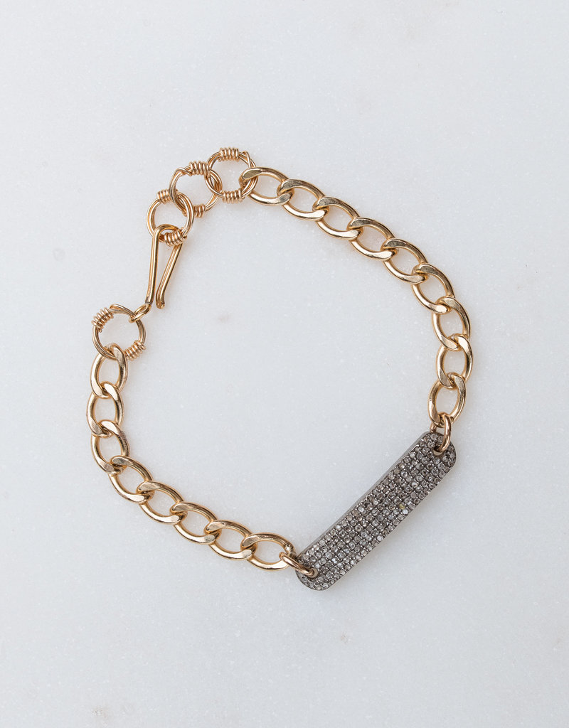 Adelante GF Chain Bracelet w/ Pave Diamonds