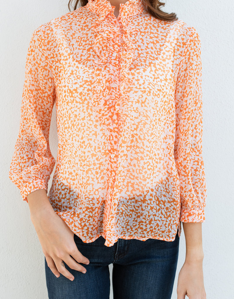 French Connection Crinkle Ruffle Neck Top