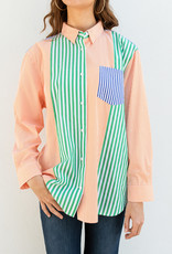 French Connection Stripe Color-block Top