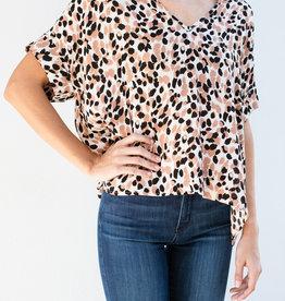 Adelante Leopard Camo V-Neck Top