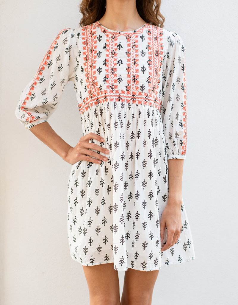 Adelante Printed Embroidered Dress