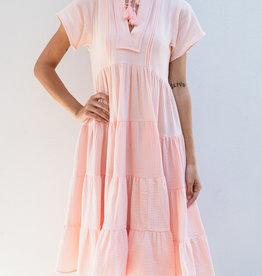 Adelante Solid Gauze Midi Boho Dress