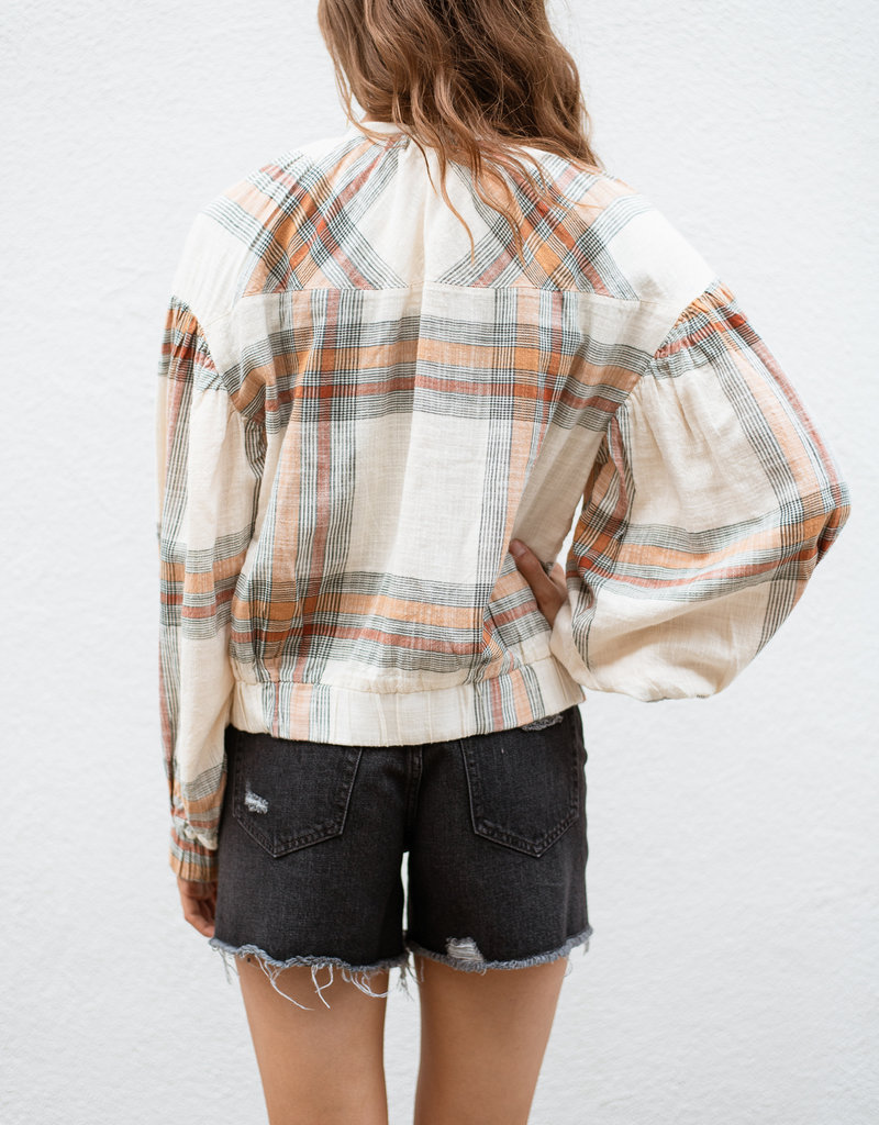Free People Mattie Plaid Bomber