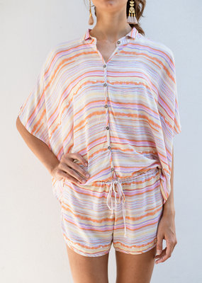 Adelante Multi Stripe Button Tie Romper