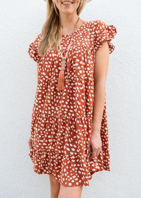 Adelante Orange Polka Dot Dress