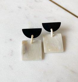 Adelante Black and Cream Square Earrings