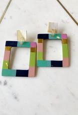 Adelante Colorblock Horn Rectangle Earrings