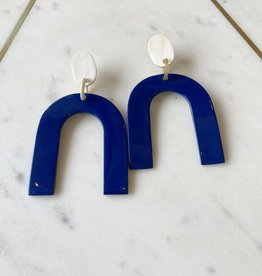 Adelante Navy Sea Horseshoe Earrings