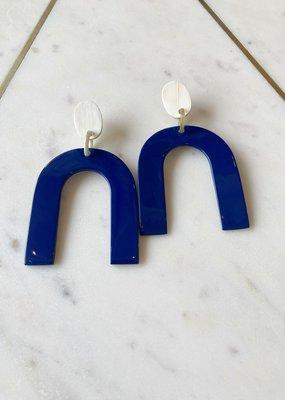 Adelante Navy Sea Horseshoe Earrings