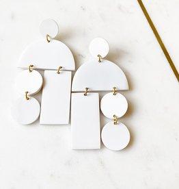 Adelante White Horn Mobile Earrings