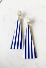 Adelante Navy Striped Umbrella Earrings
