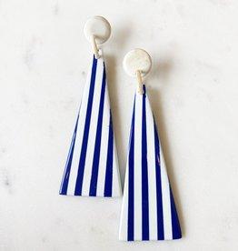 Adelante Navy Striped Umbrella Earrings