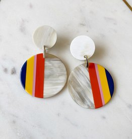 Adelante Small Navy Circle Stripe Earrings