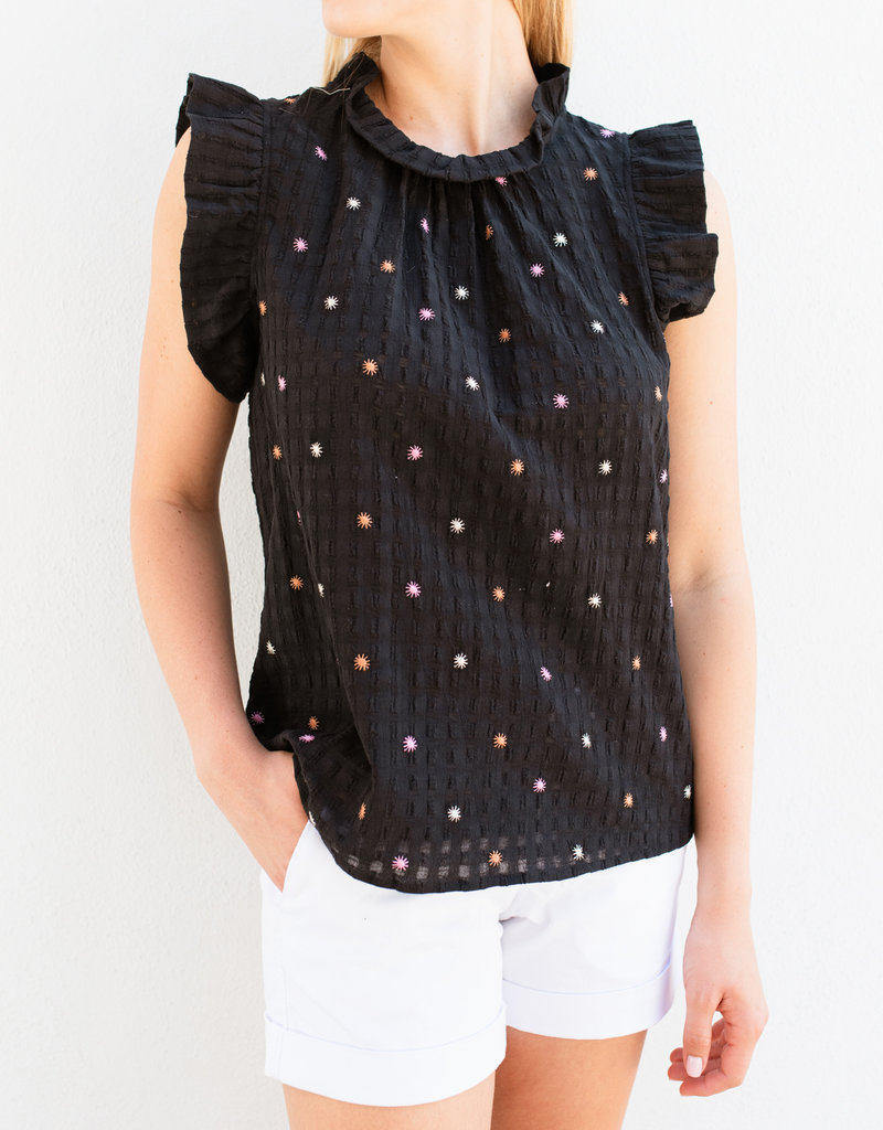 Adelante Black Embroidered Colorful Top