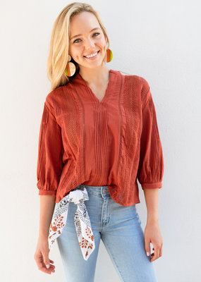 Adelante Burnt Orange Gauze Top