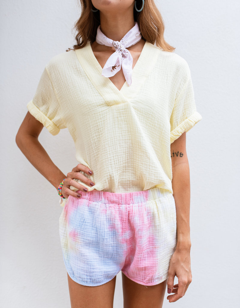 Adelante Yellow Solid Gauze V-neck Top