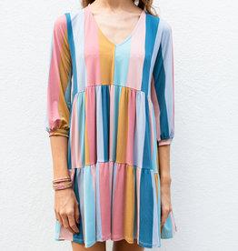 Adelante Rainbow Stripe Tier Dress