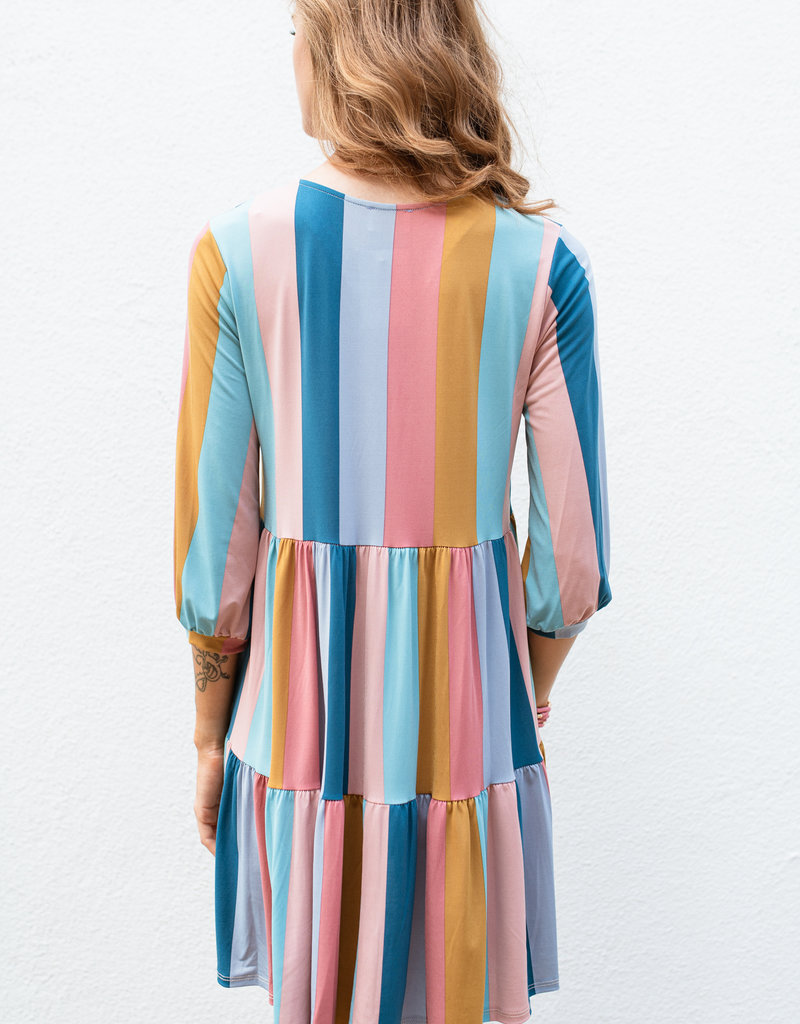 Adelante Rainbow Stripe Tier Dress