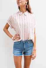 Adelante Light Red and White Stripe Top