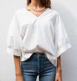 Adelante Wide Sleeve White V-Neck Blouse