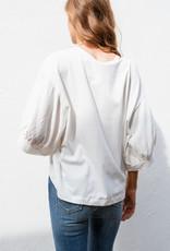 Adelante Wide Sleeve White V-Neck Blouse