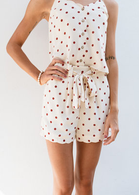 Adelante Orange Polka Dot Top