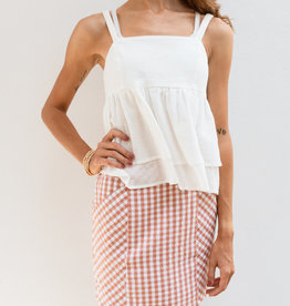 Adelante Orange Checkered Skirt