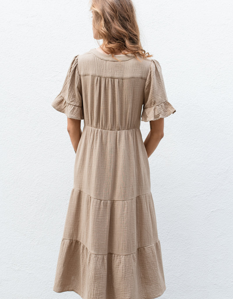 Adelante Olive Midi Dress