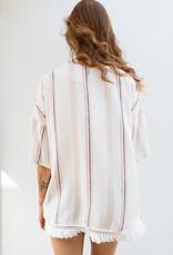 Adelante Striped Fringe Kimono