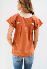 Adelante Burnt Orange and White Blouse