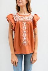 Adelante Flutter Sleeve Embroidered Top