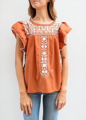 Adelante Flutter Sleeve Embroidered Top