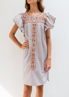 Adelante Orange Embroidered Striped Dress
