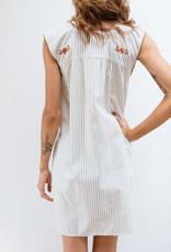 Adelante Grey and Orange Stripe Dress