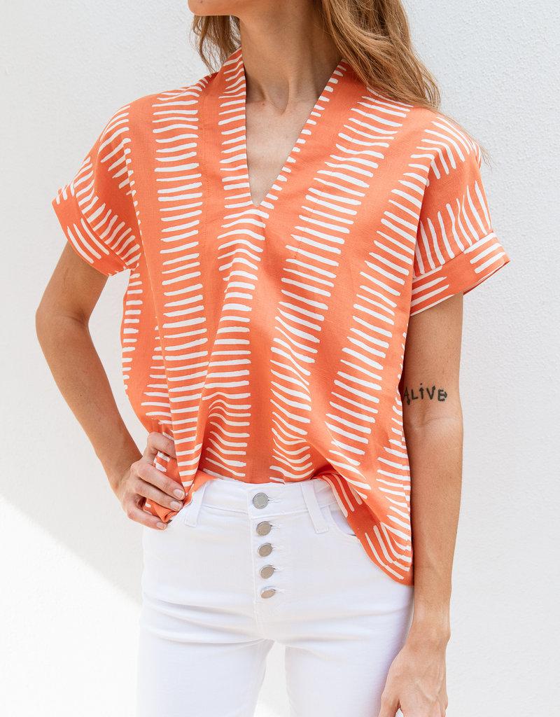 Adelante Orange and White Kimono