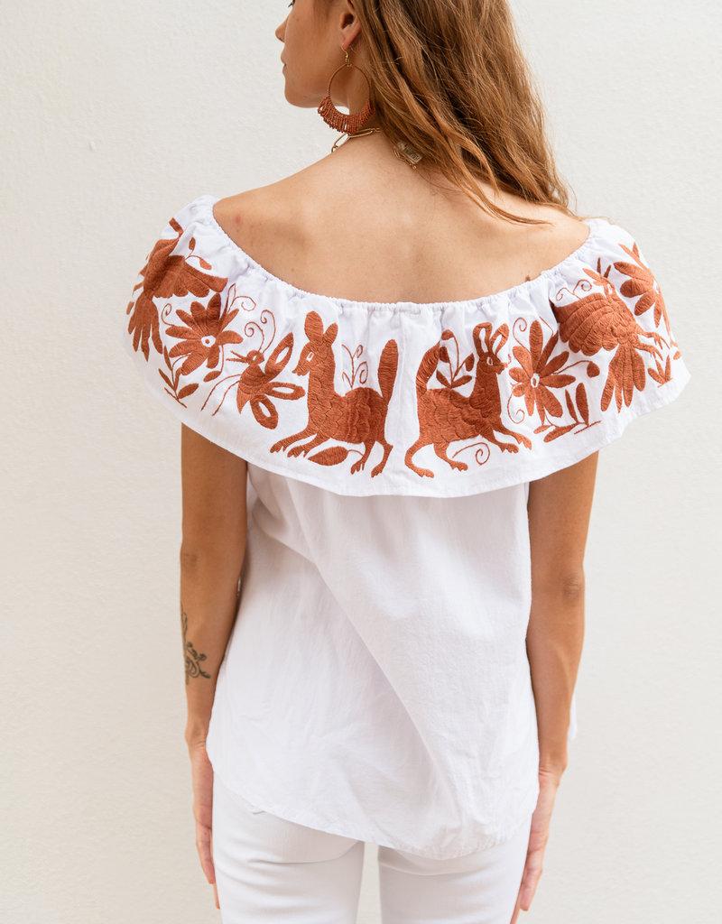 Adelante Orange Strapless Embroidered Top
