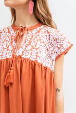 Adelante Burnt Orange Embroidered Henley Dress