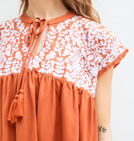Adelante Embroidered Henley Dress