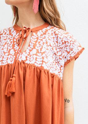 Adelante Embroidered Henley Dress