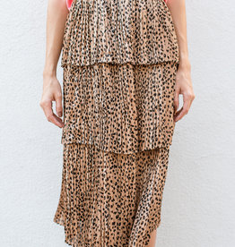 Adelante Leopard Tiered Maxi Skirt