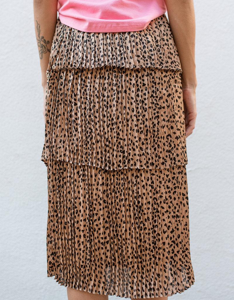 Adelante Leopard Tiered Maxi Skirt