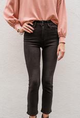 Adelante Double Button Straight Black Jeans