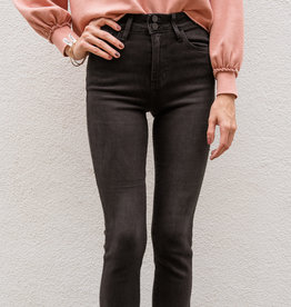 Adelante Double Button Straight Black Jeans