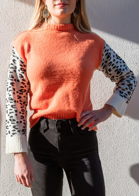 Adelante Leopard Sleeve Sweater