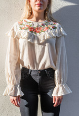 Adelante Embroidered Ruffle Top