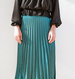 Adelante Pleated Satin Midi Skirt