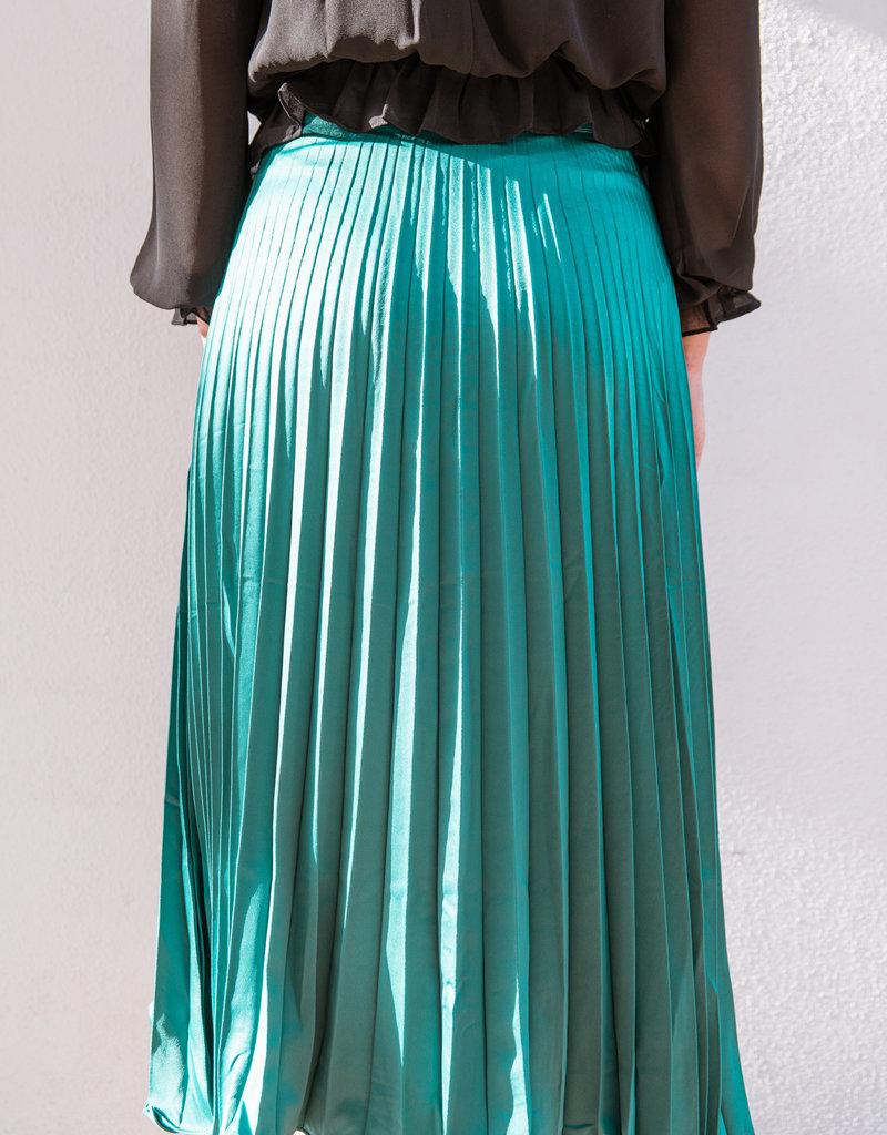 Adelante Pleated Satin Midi Skirt
