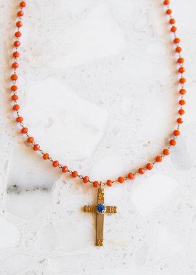Adelante Vintage Cross on Orange Glass Rosary