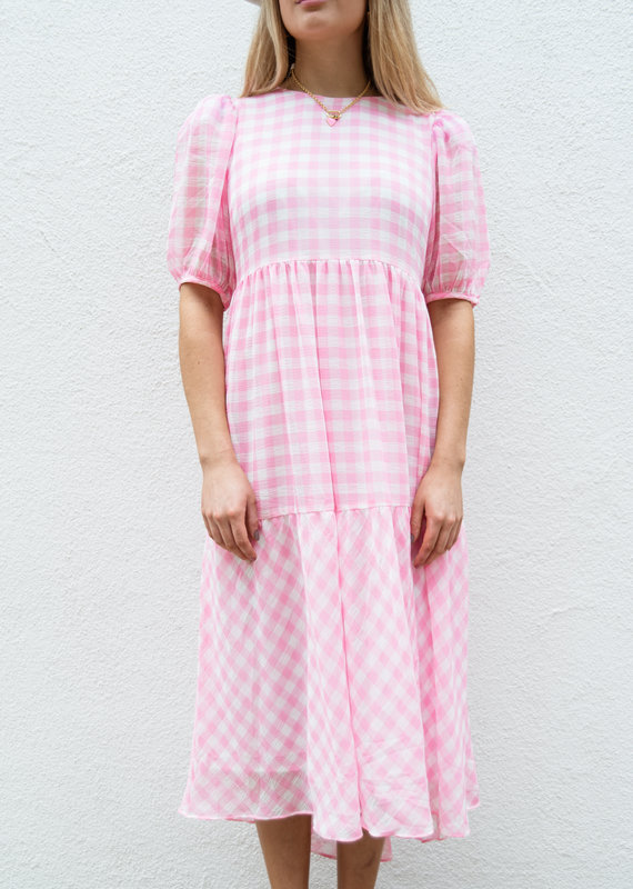 Adelante Pink Checkered Dress