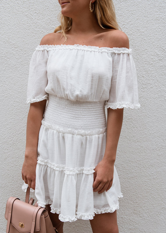 Adelante Off Shoulder Woven Dress